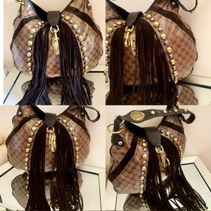 💯Gucci Babouska Fringe Studded Leather Canvas Bag
